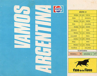 1978 World Cup Finals Tournament Football Fixture Card 4 Pages