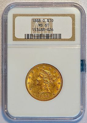 1888 O $10 Liberty Head Gold Eagle Coin (NGC MS 61 MS61) RARE DATE (LV#G4)