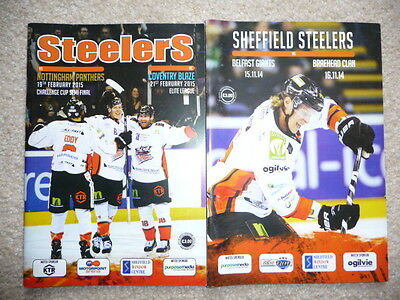 Sheffield Steelers Ice Hockey Programme - set of 2 - Pristine condition -2014-15