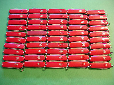 NTSA LOT of 50 SWISS ARMY VICTORINOX POCKET KNIVES ALL RED CLASSICS NO LOGOS