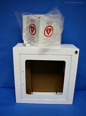 """Zoll 8000-0817 AED Plus Wall Cabinet 7"""" Deep w/ Alarm Keys 3D Sign 9320-0724 New"""