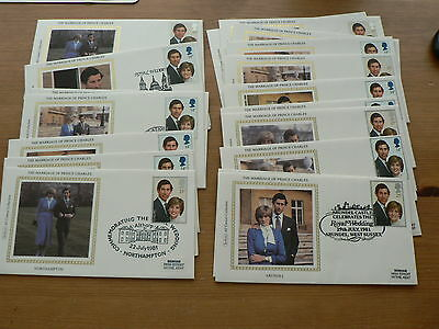 Marriage of Prince Charles + Diana, 1981 Benham Silk Covers, Individual Town p/m