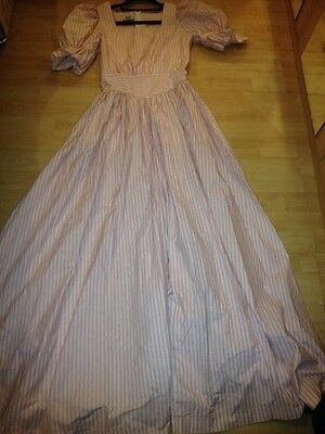 Laura Ashley Vintage Victorian Style Maxi Dress Pink Candy Stripe UK 10 Vgc
