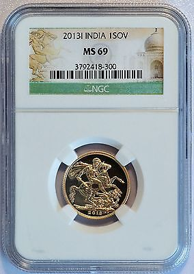 2013-I Great Britian / India Gold 1 Sovereign Coin (NGC MS 69 MS69) (LV#666)