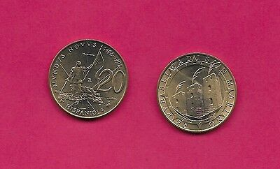 San Marino Rep 20 Lire 1992R Unc Columbus Landing In Hispaniola,towers With Feat