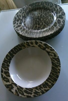 222 Fifth NICK & NORA JUNGLE JIM LEOPARD PRINT Stoneware 6 PCs EUC