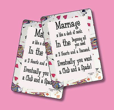"""""""Marriage Is Like A Deck Of Cards"""" - 2 Humorous Verse Cards - sku# 4133"""
