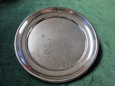 Antique Silver Child's Plate Engraved Boy w/ Kite Rogers Hard to Find!