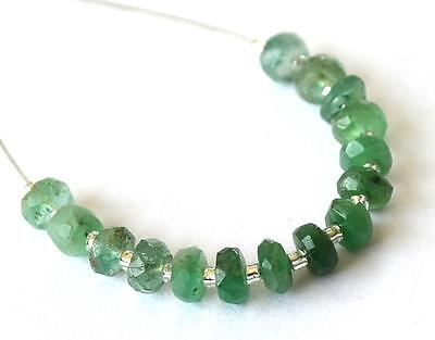 Emerald Beads Faceted Rondelle 4 Mm Natural Gemstone 5 Cts - 15 Pcs @1229