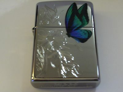 Zippo Dazzling Butterfly Engraved Flowers High Polish Chrome Lighter