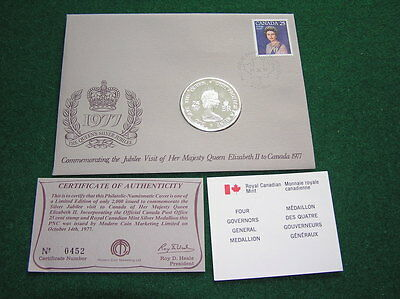 Four Governors General Medallion 925 Fine Silver 1977 Jubilee First Day Cover