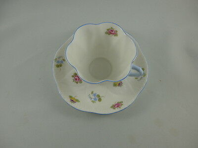 VINTAGE SHELLEY DAINTY SHAPE ROSE PANSY CUP AND SAUCER SET ENGLAND Blue Trim