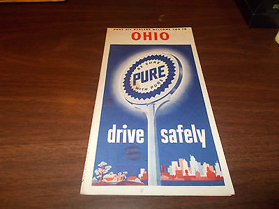 1954 Pure Oil OHIO Vintage Road Map / 54A