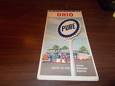 1957 Pure Oil OHIO Vintage Road Map / 57A