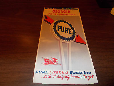 1965 Pure Oil Georgia Vintage Road Map