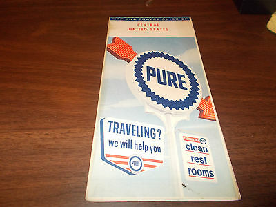 1961 Pure Oil Central US Vintage Road Map / 61A