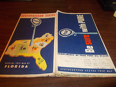 1955 Pure Oil Southeastern States Vintage Road Map / 55A