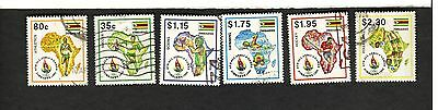 1995 Zimbabwe SC #740-45 6TH ALL AFRICA GAMES Hockey Soccer Boxing used stamps