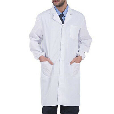 Mens Womens Unisex Scrubs White Lab Coat Uniform Doctor's Coat Food Coat