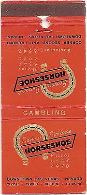 Benny Binion's Horseshoe Casino - Las Vegas, Nevada NV - FS Matchbook Cover