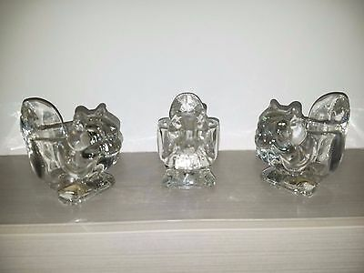 Set of 3 Vintage AVON Glass Candle Holders - Squirrels - Votive or Tea Candles