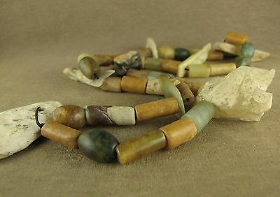 "24"" Stunning Antique Chinese Neolithic Carved Bi Pendant Jade Beads Necklace"