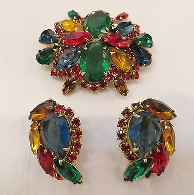 Lovely Juliana D&E Colorful Brooch Pin and matching clip back earrings set