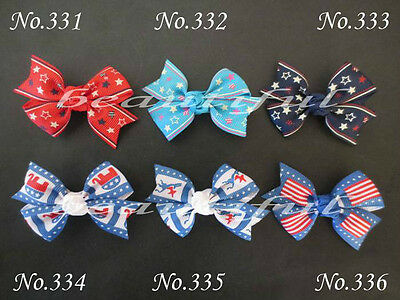 """50 BLESSING Good Girl Custom Boutique 2.5"""" Wing Hair Bow Clip #420 Wholesale"""