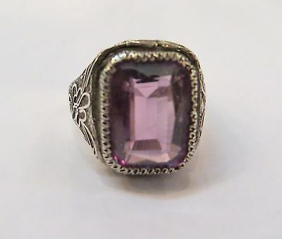 Lovely Vintage Estate Chinese Export Silver Filigree Ring Amethyst Stone