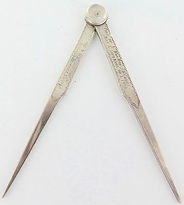 1953 Super Rare Solid Sterling Silver Masonic Compass, Engraved With Details.
