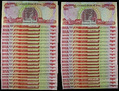 (40) Iraq 25,000 Dinar Banknotes ~ 1 Million Total Dinars ~ Exchange #DM2