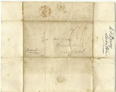 GB April 1840 Pre Paid Full Cover to Sheffield