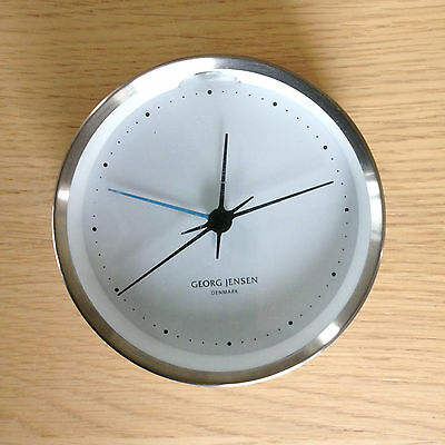 GEORG JENSEN KOPPEL 10cm WALL CLOCK  STAINLESS STEEL WITH WHITE DIAL