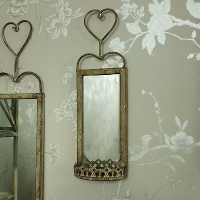 Vintage style ornate white wall mounted mirror shabby chic for Small hanging mirror