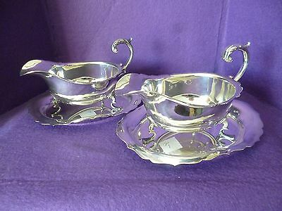 A Fabulous Matching Pair Of Vintage Silver Plated Sauce Boat Complete With Tray