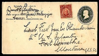 Philippines Samar to lieutenant Fred Chamberlin Cover 1909 Uprated Stationery