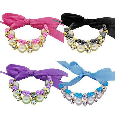 1 pcs Pet Cat Dog Collar Bling Crystal Adjustable Puppy Bow tie Buckle Necklace