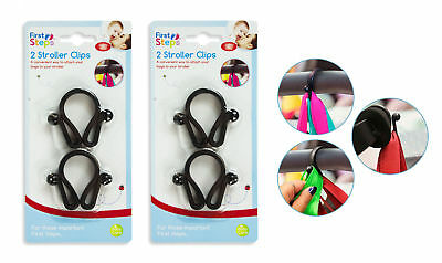 Stroller Clips Buggy Hooks Pram Baby Pushchair Shopping Bag Holder - Pack of 4