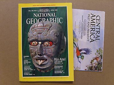 National Geographic Magazine - April 1986 - Central America Double Map Included