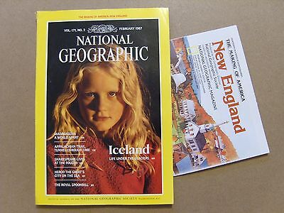 National Geographic Magazine - February 1987 - New England Map Included