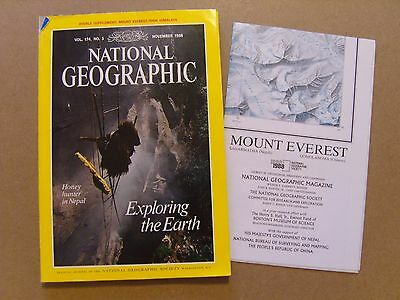 National Geographic Magazine - November 1988 - Mount Everest Map Included