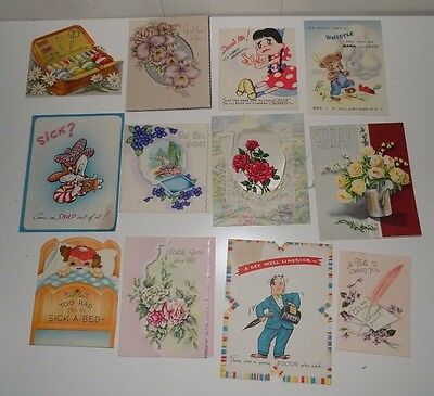 Lot of 12 Vintage Get Well Cards Cut Out Foil Humor
