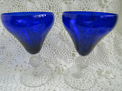 "Morgantown GOLF BALL COBALT BLUE Old English ~~ 6 1/4"" TALL GOBLET~ 2 PCS ~~"