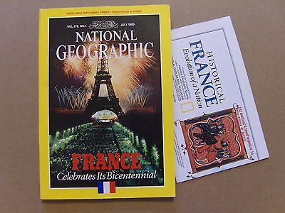 National Geographic Magazine - July 1989 - France Nation Evolution Map Included