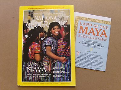 National Geographic Magazine - October 1989 - Ancient Maya World Map Included