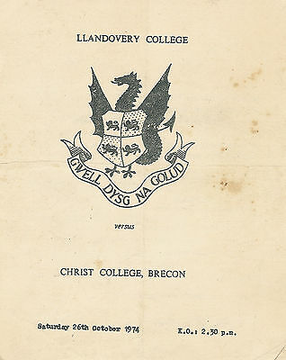 Llandovery College v Christ College Brecon 26 Oct 1974 RUGBY PROGRAMME