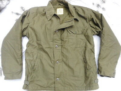 ORIGINAL US NAVY A2 A 2 DECK COAT jacket 1977 VIETNAM OG 107 GREEN L LARGE mint