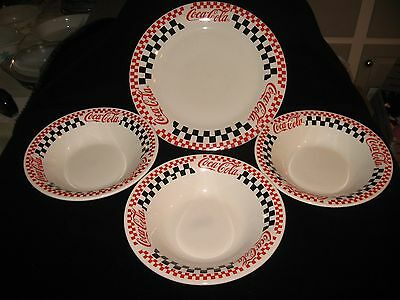 Vintage Coca Cola 1996 Gibson 1 Plate & 3 Bowls Checkered Red & Black