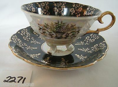 3 Footed Cup Saucer set Pearlescent & Black Gold Overlay & handle JAPAN