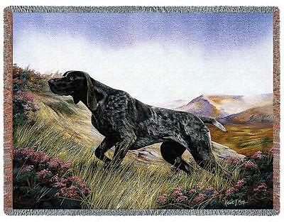 Throw Tapestry Afghan - German Shorthaired Pointer by Robert May 1931